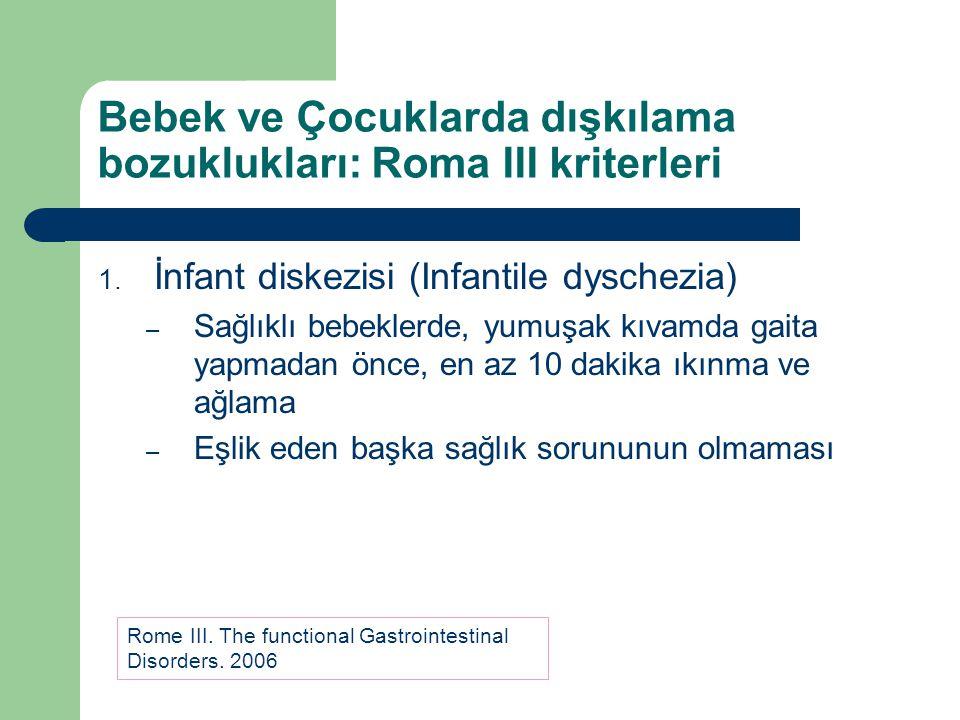 Bebek ve Çocuklarda dışkılama bozuklukları: Roma III kriterleri 1. İnfant diskezisi (Infantile dyschezia) – Sağlıklı bebeklerde, yumuşak kıvamda gaita