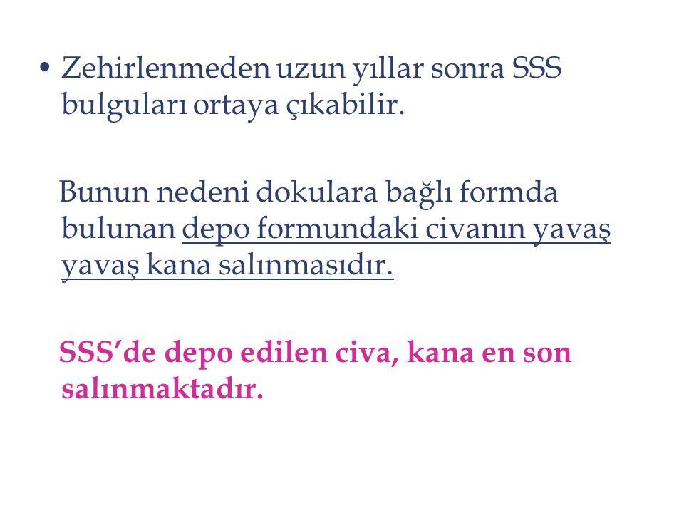 Zehirlenmeden uzun yıllar sonra SSS bulguları ortaya çıkabilir. Bunun nedeni dokulara bağlı formda bulunan depo formundaki civanın yavaş yavaş kana sa