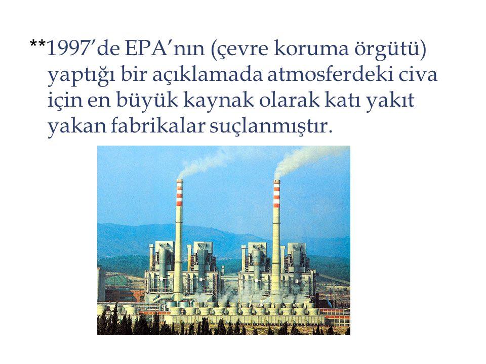 ** 1997'de EPA'nın (çevre koruma örgütü) yaptığı bir açıklamada atmosferdeki civa için en büyük kaynak olarak katı yakıt yakan fabrikalar suçlanmıştır