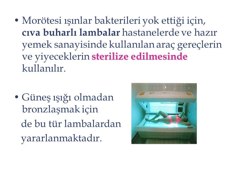 sterilize edilmesindeMorötesi ışınlar bakterileri yok ettiği için, cıva buharlı lambalar hastanelerde ve hazır yemek sanayisinde kullanılan araç gereç