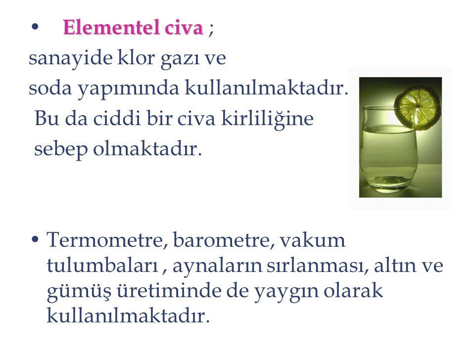 Elementel civa Elementel civa ; sanayide klor gazı ve soda yapımında kullanılmaktadır. Bu da ciddi bir civa kirliliğine sebep olmaktadır. Termometre,