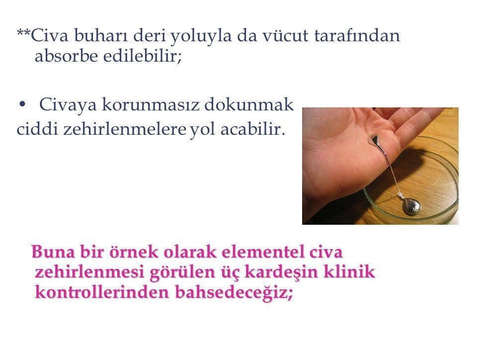 **Civa buharı deri yoluyla da vücut tarafından absorbe edilebilir; Civaya korunmasız dokunmak ciddi zehirlenmelere yol acabilir. Buna bir örnek olarak