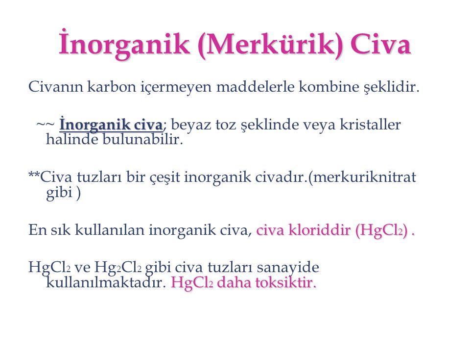 İnorganik (Merkürik) Civa Civanın karbon içermeyen maddelerle kombine şeklidir. İnorganik civa ~~ İnorganik civa ; beyaz toz şeklinde veya kristaller