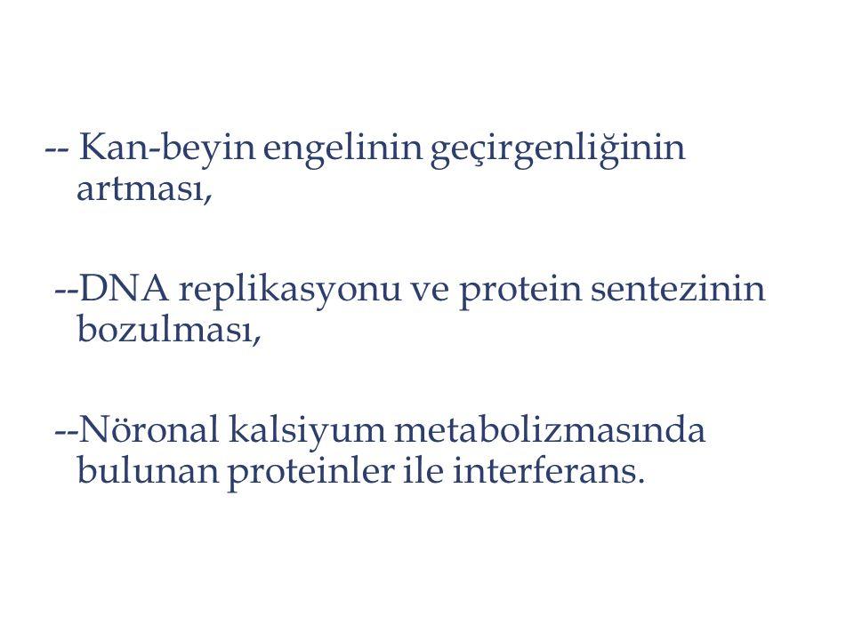 -- Kan-beyin engelinin geçirgenliğinin artması, --DNA replikasyonu ve protein sentezinin bozulması, --Nöronal kalsiyum metabolizmasında bulunan protei