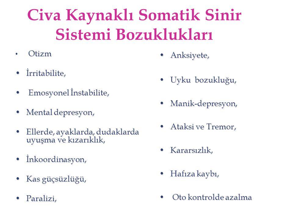 Civa Kaynaklı Somatik Sinir Sistemi Bozuklukları Otizm İrritabilite,İrritabilite, Emosyonel İnstabilite, Emosyonel İnstabilite, Mental depresyon,Menta