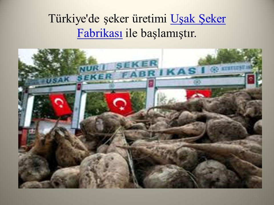 Türkiye'de şeker üretimi Uşak Şeker Fabrikası ile başlamıştır.Uşak Şeker Fabrikası 12