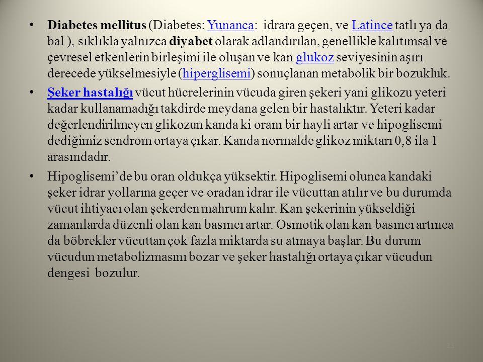 Diabetes mellitus (Diabetes: Yunanca: idrara geçen, ve Latince tatlı ya da bal ), sıklıkla yalnızca diyabet olarak adlandırılan, genellikle kalıtımsal