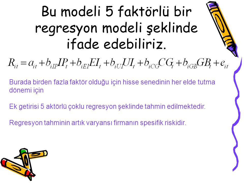 Bu modeli 5 faktörlü bir regresyon modeli şeklinde ifade edebiliriz. Burada birden fazla faktör olduğu için hisse senedinin her elde tutma dönemi için
