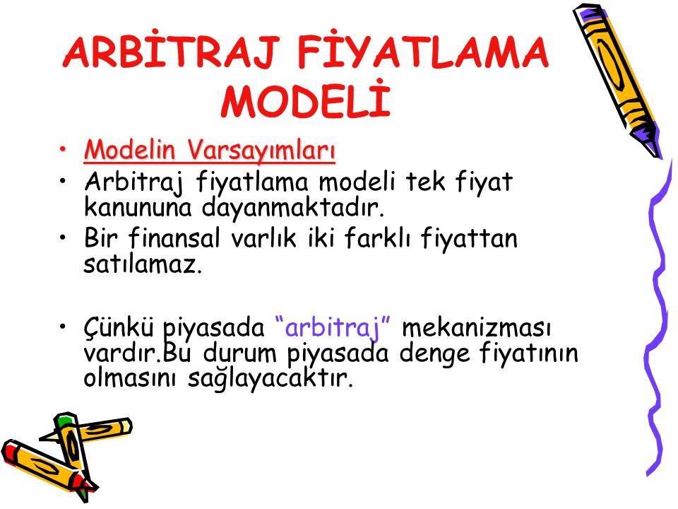 ARBİTRAJ FİYATLAMA MODELİ Modelin VarsayımlarıModelin Varsayımları Arbitraj fiyatlama modeli tek fiyat kanununa dayanmaktadır. Bir finansal varlık iki