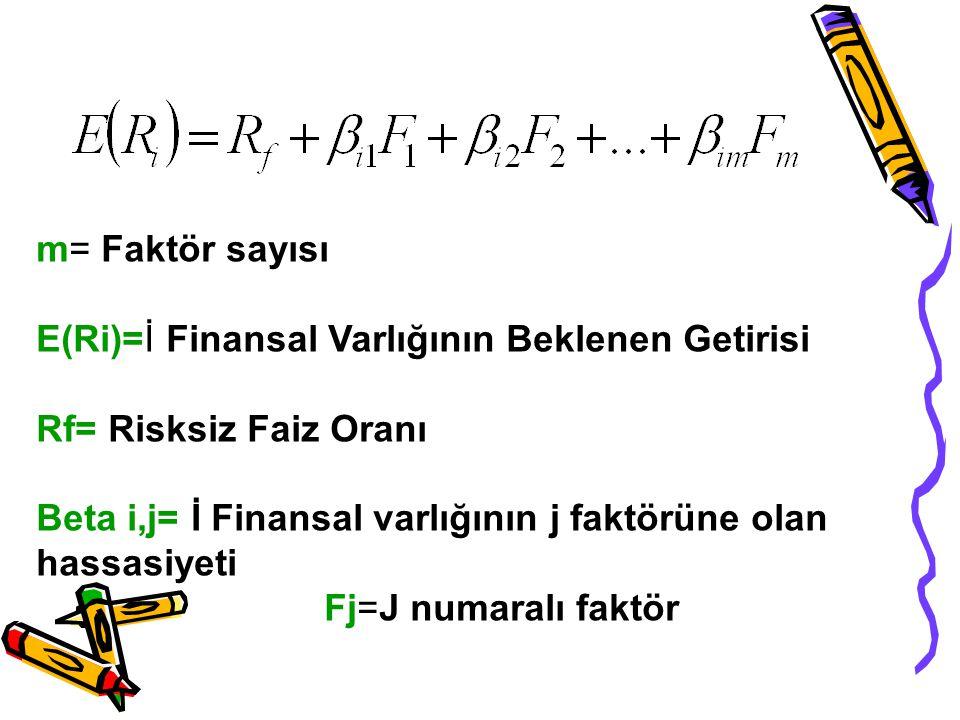 m= Faktör sayısı E(Ri)=İ Finansal Varlığının Beklenen Getirisi Rf= Risksiz Faiz Oranı Beta i,j= İ Finansal varlığının j faktörüne olan hassasiyeti Fj=J numaralı faktör