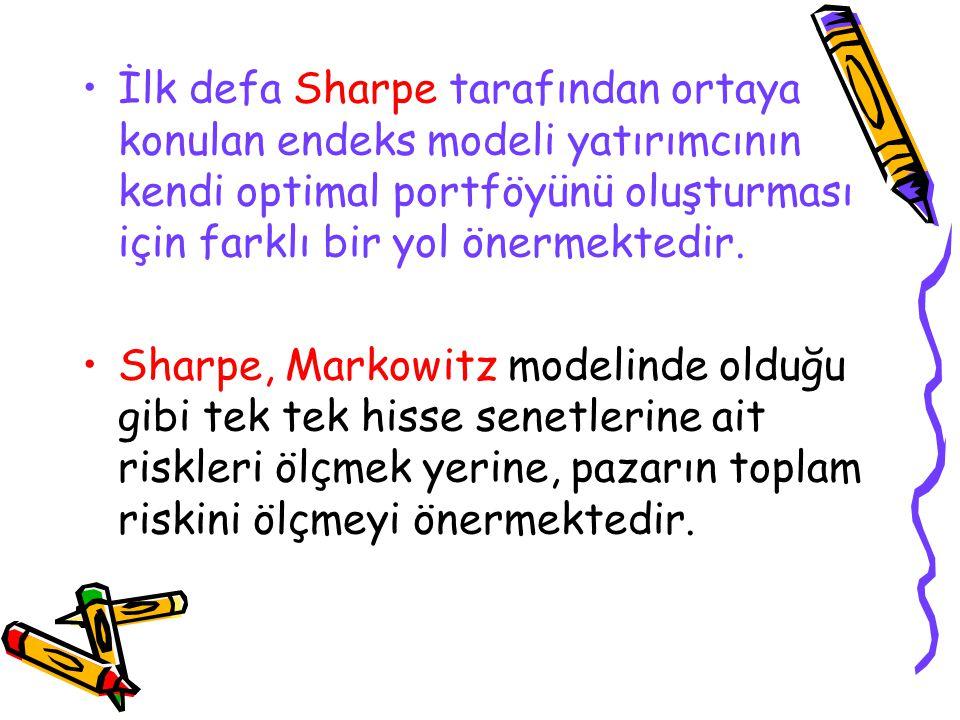 İlk defa Sharpe tarafından ortaya konulan endeks modeli yatırımcının kendi optimal portföyünü oluşturması için farklı bir yol önermektedir. Sharpe, Ma