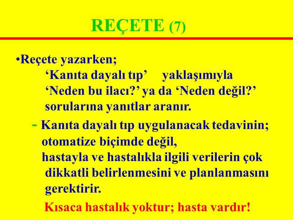 REÇETENİN BÖLÜMLERİ (21) 7) Önerilen ilacın kullanım tarifi (İnstrüksiyon)...