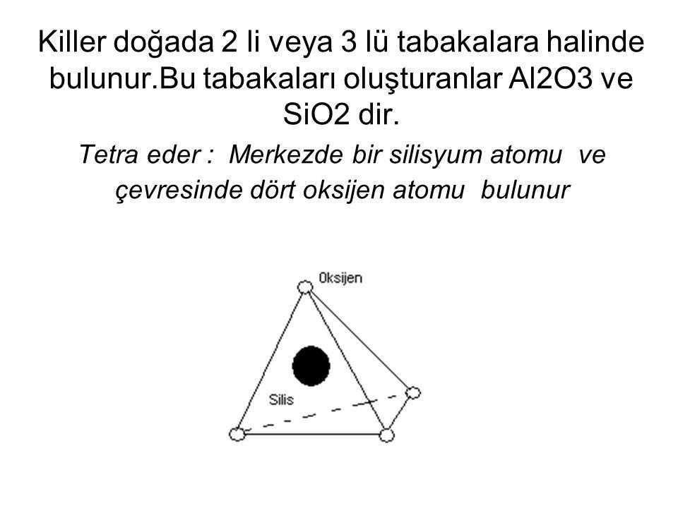 Killer doğada 2 li veya 3 lü tabakalara halinde bulunur.Bu tabakaları oluşturanlar Al2O3 ve SiO2 dir. Tetra eder : Merkezde bir silisyum atomu ve çevr