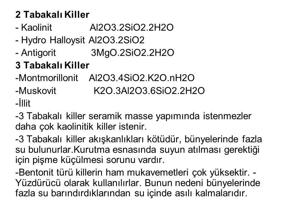 2 Tabakalı Killer - Kaolinit Al2O3.2SiO2.2H2O - Hydro Halloysit Al2O3.2SiO2 - Antigorit 3MgO.2SiO2.2H2O 3 Tabakalı Killer -Montmorillonit Al2O3.4SiO2.