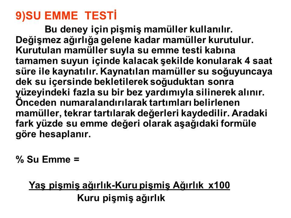 9)SU EMME TESTİ Bu deney için pişmiş mamüller kullanılır. Değişmez ağırlığa gelene kadar mamüller kurutulur. Kurutulan mamüller suyla su emme testi ka