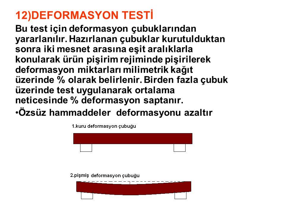 12)DEFORMASYON TESTİ Bu test için deformasyon çubuklarından yararlanılır. Hazırlanan çubuklar kurutulduktan sonra iki mesnet arasına eşit aralıklarla