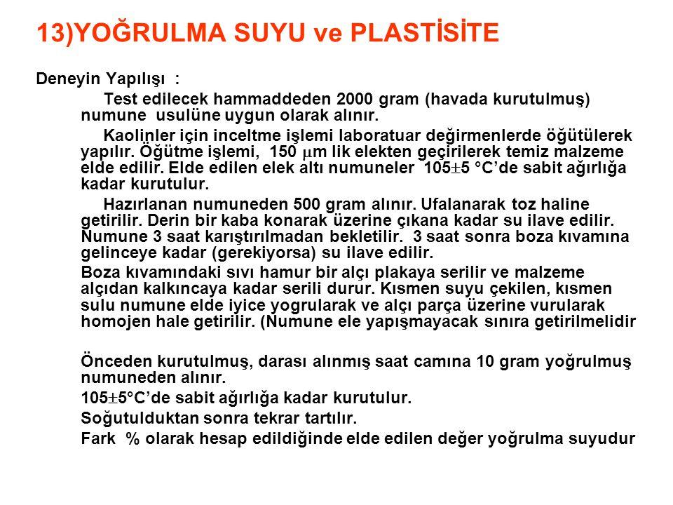 13)YOĞRULMA SUYU ve PLASTİSİTE Deneyin Yapılışı : Test edilecek hammaddeden 2000 gram (havada kurutulmuş) numune usulüne uygun olarak alınır. Kaolinle