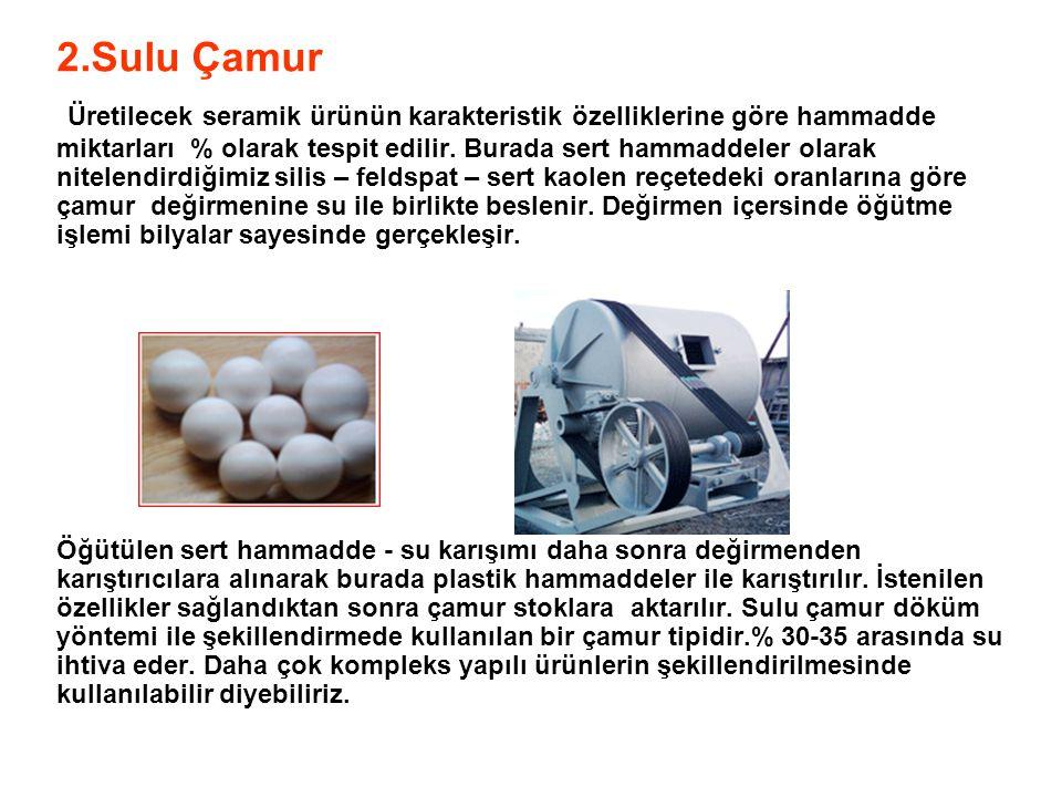2.Sulu Çamur Üretilecek seramik ürünün karakteristik özelliklerine göre hammadde miktarları % olarak tespit edilir. Burada sert hammaddeler olarak nit