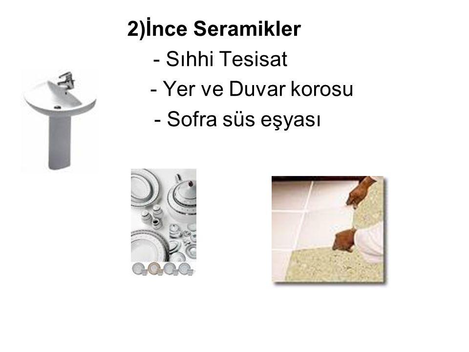 B) Sık Yapılı Seramik Mamuller 1)Fonksiyon seramikler (Elektrik, magnetik, optik ve kimyasal fonksiyonlu) 2)Bio Seramikler (Tıpta Kullanılır) 3)Nükleer Seramikler (Işınları Absorbe eder) 4)Mekano seramikler (Aşınmaya karşı direnci olan, kesici seramikler) 5)Filtre amaçlı seramikle