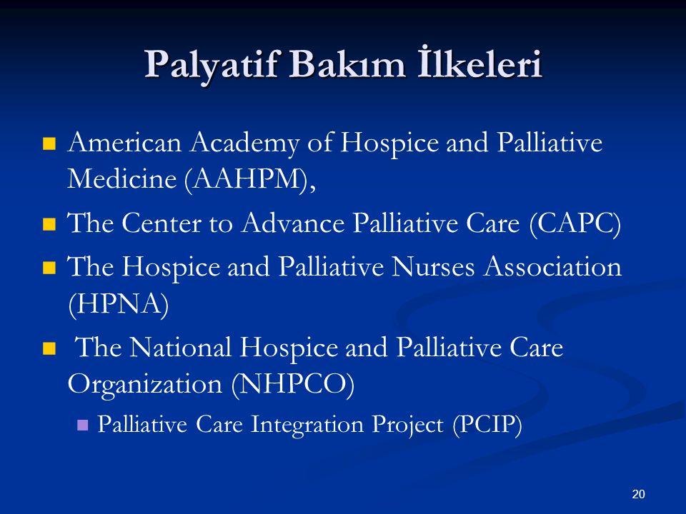 20 Palyatif Bakım İlkeleri American Academy of Hospice and Palliative Medicine (AAHPM), The Center to Advance Palliative Care (CAPC) The Hospice and P