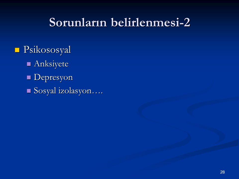 28 Sorunların belirlenmesi-2 Psikososyal Psikososyal Anksiyete Anksiyete Depresyon Depresyon Sosyal izolasyon…. Sosyal izolasyon….