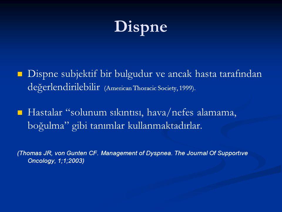 """Dispne Dispne subjektif bir bulgudur ve ancak hasta tarafından değerlendirilebilir (American Thoracic Society, 1999). Hastalar """"solunum sıkıntısı, hav"""