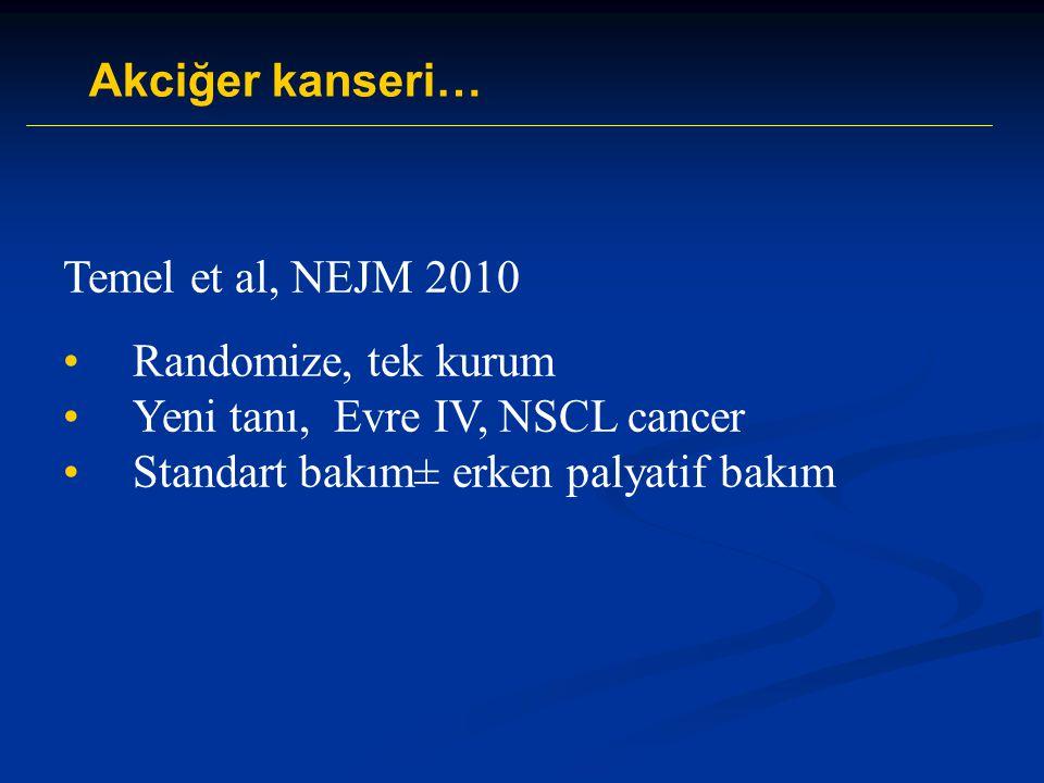 Temel et al, NEJM 2010 Randomize, tek kurum Yeni tanı, Evre IV, NSCL cancer Standart bakım± erken palyatif bakım Akciğer kanseri…