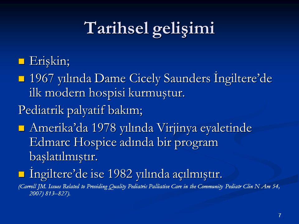 7 Tarihsel gelişimi Erişkin; Erişkin; 1967 yılında Dame Cicely Saunders İngiltere'de ilk modern hospisi kurmuştur. 1967 yılında Dame Cicely Saunders İ