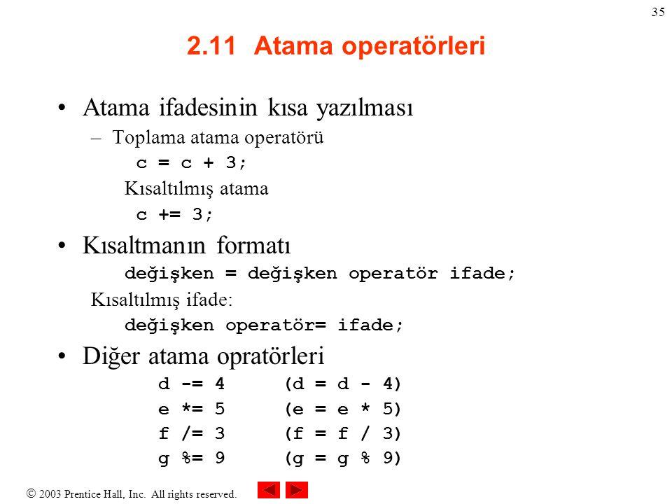  2003 Prentice Hall, Inc. All rights reserved. 35 2.11Atama operatörleri Atama ifadesinin kısa yazılması –Toplama atama operatörü c = c + 3; Kısaltıl