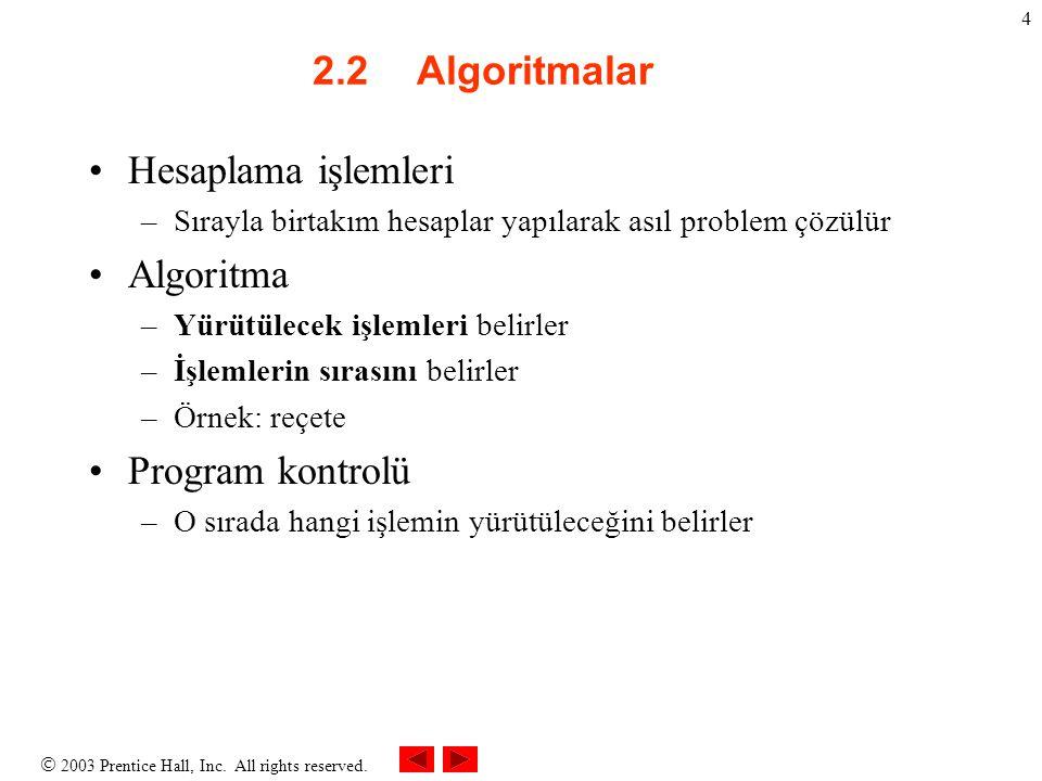  2003 Prentice Hall, Inc. All rights reserved. 4 2.2Algoritmalar Hesaplama işlemleri –Sırayla birtakım hesaplar yapılarak asıl problem çözülür Algori