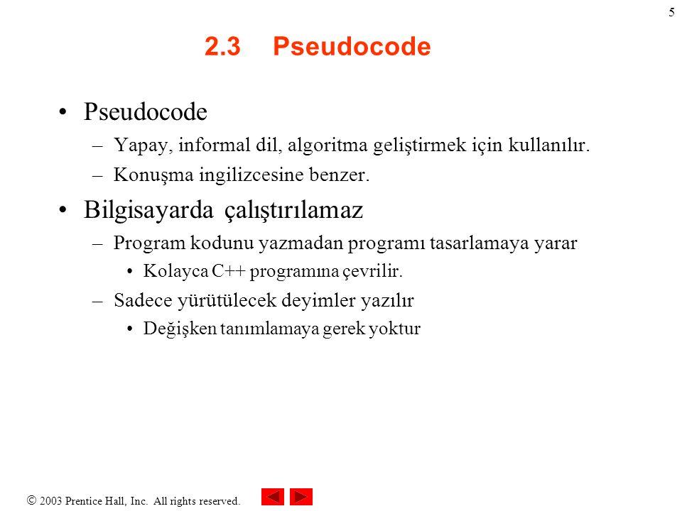  2003 Prentice Hall, Inc. All rights reserved. 5 2.3Pseudocode Pseudocode –Yapay, informal dil, algoritma geliştirmek için kullanılır. –Konuşma ingil