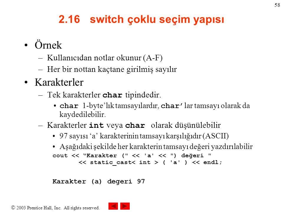  2003 Prentice Hall, Inc. All rights reserved. 58 2.16 switch çoklu seçim yapısı Örnek –Kullanıcıdan notlar okunur (A-F) –Her bir nottan kaçtane giri