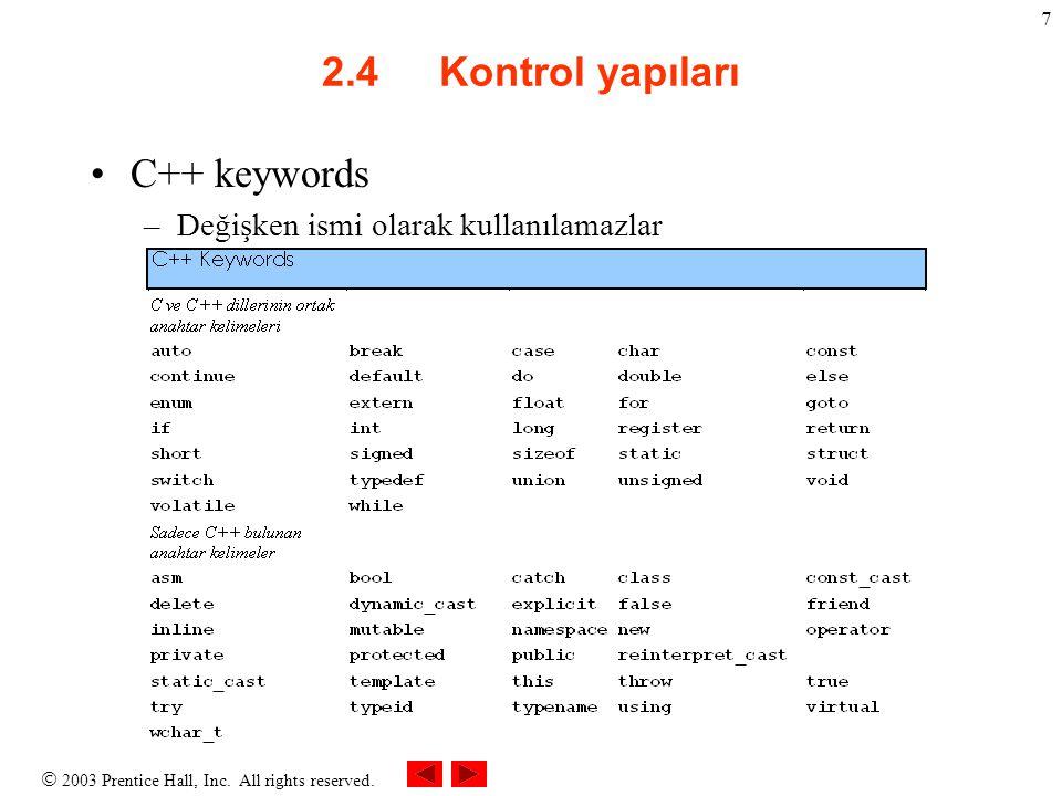 2003 Prentice Hall, Inc. All rights reserved. 7 2.4 Kontrol yapıları C++ keywords –Değişken ismi olarak kullanılamazlar