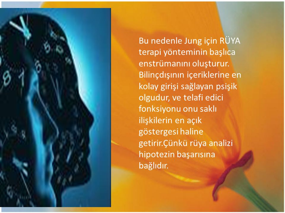 Bu nedenle Jung için RÜYA terapi yönteminin başlıca enstrümanını oluşturur. Bilinçdışının içeriklerine en kolay girişi sağlayan psişik olgudur, ve tel
