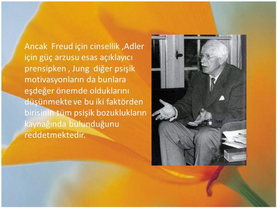 Ancak Freud için cinsellik,Adler için güç arzusu esas açıklayıcı prensipken, Jung diğer psişik motivasyonların da bunlara eşdeğer önemde olduklarını d