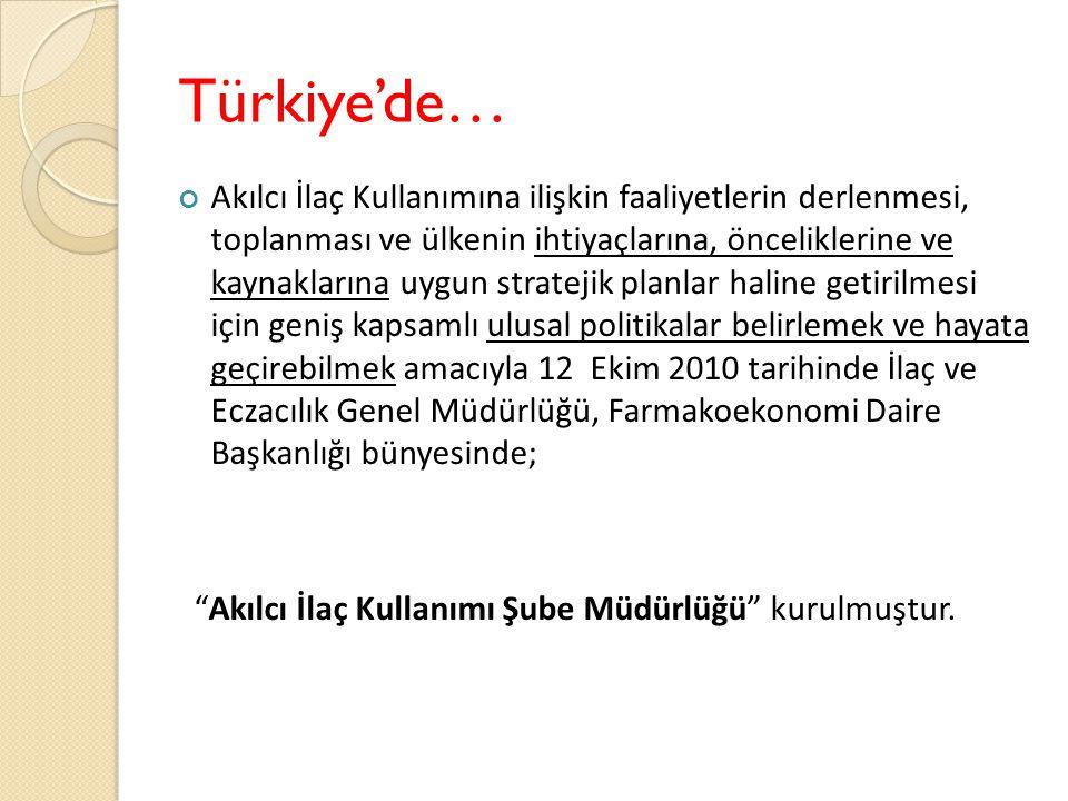 Türkiye'de… Akılcı İlaç Kullanımına ilişkin faaliyetlerin derlenmesi, toplanması ve ülkenin ihtiyaçlarına, önceliklerine ve kaynaklarına uygun stratejik planlar haline getirilmesi için geniş kapsamlı ulusal politikalar belirlemek ve hayata geçirebilmek amacıyla 12 Ekim 2010 tarihinde İlaç ve Eczacılık Genel Müdürlüğü, Farmakoekonomi Daire Başkanlığı bünyesinde; Akılcı İlaç Kullanımı Şube Müdürlüğü kurulmuştur.