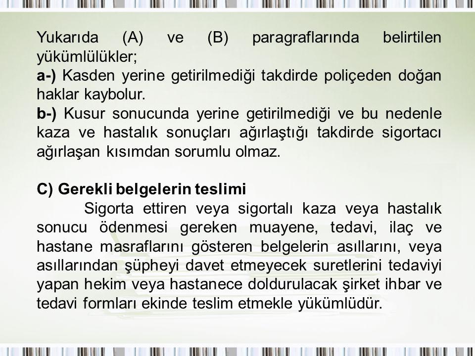 Yukarıda (A) ve (B) paragraflarında belirtilen yükümlülükler; a-) Kasden yerine getirilmediği takdirde poliçeden doğan haklar kaybolur. b-) Kusur sonu