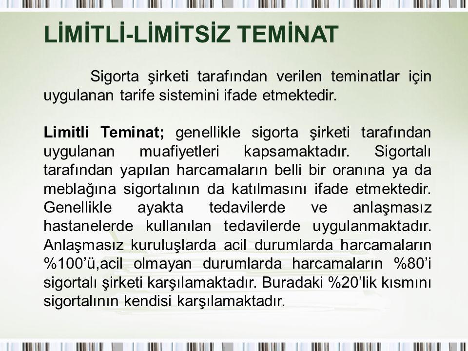 LİMİTLİ-LİMİTSİZ TEMİNAT Sigorta şirketi tarafından verilen teminatlar için uygulanan tarife sistemini ifade etmektedir. Limitli Teminat; genellikle s