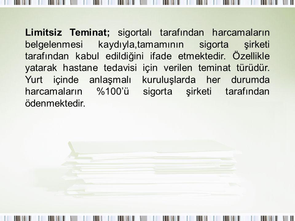 Limitsiz Teminat; sigortalı tarafından harcamaların belgelenmesi kaydıyla,tamamının sigorta şirketi tarafından kabul edildiğini ifade etmektedir. Özel