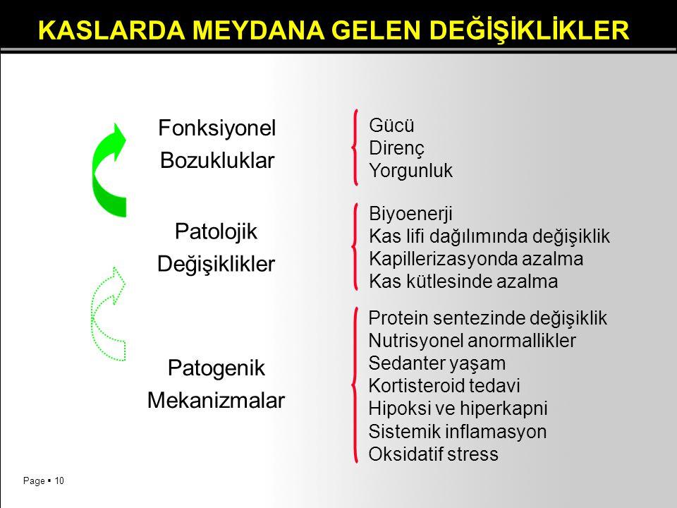 Page  10 Fonksiyonel Bozukluklar Gücü Direnç Yorgunluk Patolojik Değişiklikler Biyoenerji Kas lifi dağılımında değişiklik Kapillerizasyonda azalma Ka
