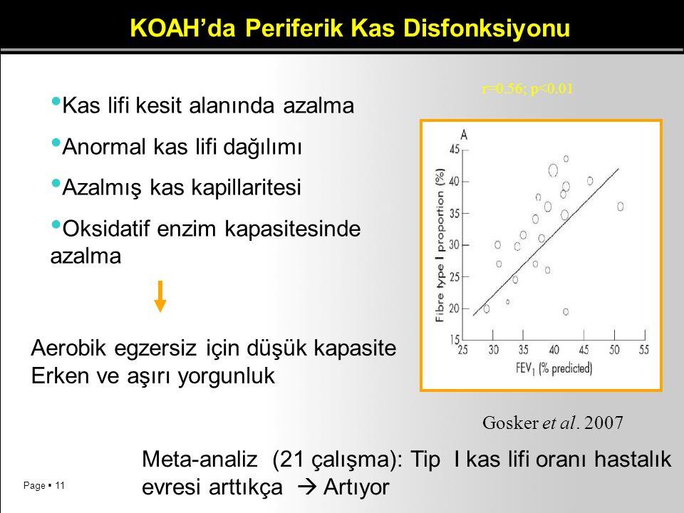 Page  11 Kas lifi kesit alanında azalma Anormal kas lifi dağılımı Azalmış kas kapillaritesi Oksidatif enzim kapasitesinde azalma Aerobik egzersiz içi