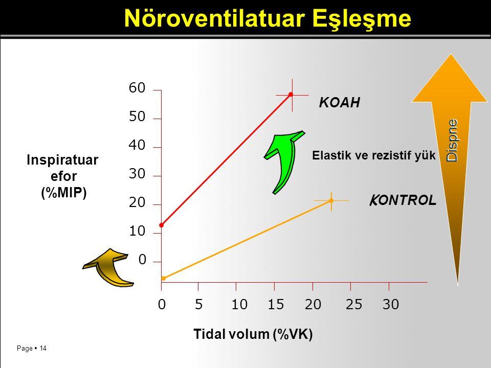 Page  14 Nöroventilatuar Eşleşme 60 50 40 30 10 20 0 0 53010152025 Inspiratuar efor (%MIP) Tidal volum (%VK) KOAH K ONTROL Elastik ve rezistif yük Di