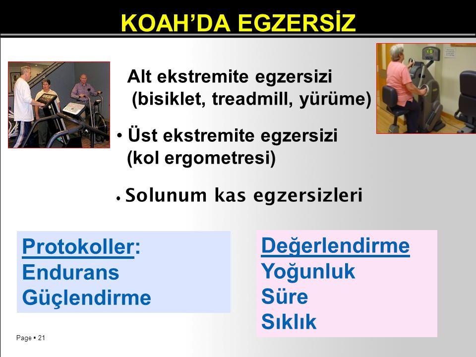Page  21 KOAH'DA EGZERSİZ Alt ekstremite egzersizi (bisiklet, treadmill, yürüme) Üst ekstremite egzersizi (kol ergometresi)  Solunum kas egzersizler