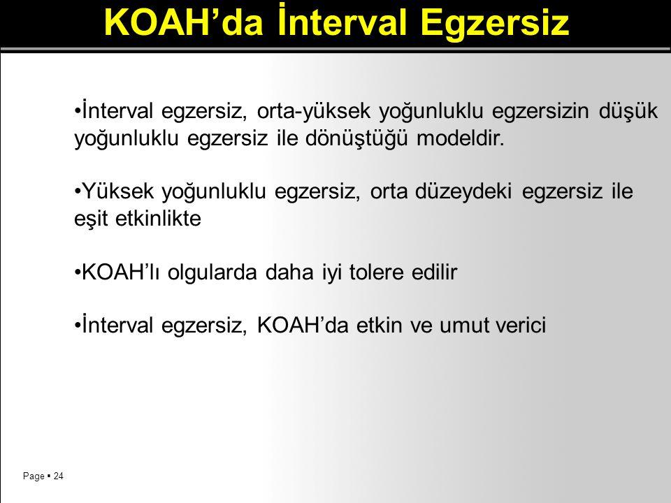 Page  24 KOAH'da İnterval Egzersiz İnterval egzersiz, orta-yüksek yoğunluklu egzersizin düşük yoğunluklu egzersiz ile dönüştüğü modeldir. Yüksek yoğu