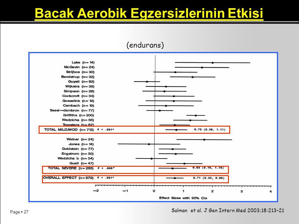 Page  27 Bacak Aerobik Egzersizlerinin Etkisi Salman et al. J Gen Intern Med 2003;18:213-21 (endurans)