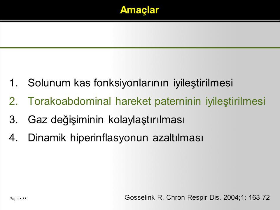 Page  38 Amaçlar 1.Solunum kas fonksiyonlarının iyileştirilmesi 2.Torakoabdominal hareket paterninin iyileştirilmesi 3.Gaz değişiminin kolaylaştırılm