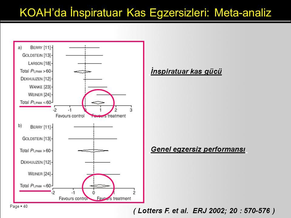 Page  40 KOAH'da İnspiratuar Kas Egzersizleri: Meta-analiz ( Lotters F. et al. ERJ 2002; 20 : 570-576 ) İnspiratuar kas gücü Genel egzersiz performan