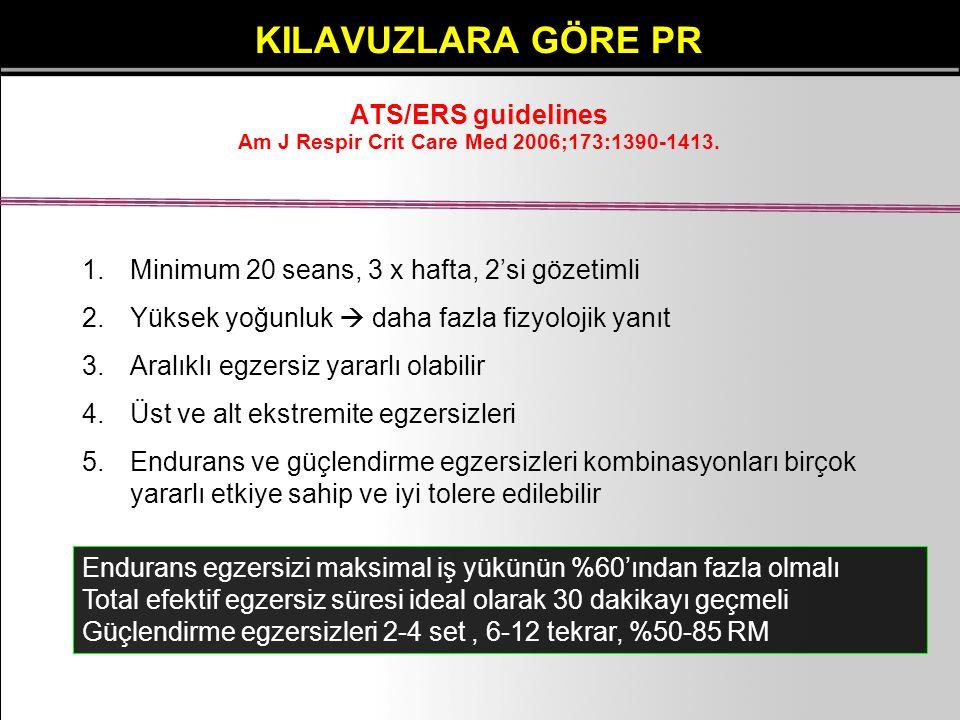 KILAVUZLARA GÖRE PR ATS/ERS guidelines Am J Respir Crit Care Med 2006;173:1390-1413. 1.Minimum 20 seans, 3 x hafta, 2'si gözetimli 2.Yüksek yoğunluk 