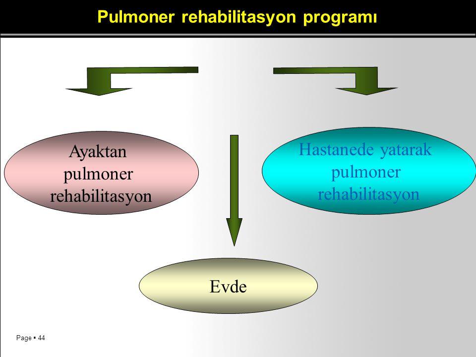 Page  44 Pulmoner rehabilitasyon programı Ayaktan pulmoner rehabilitasyon Hastanede yatarak pulmoner rehabilitasyon Evde