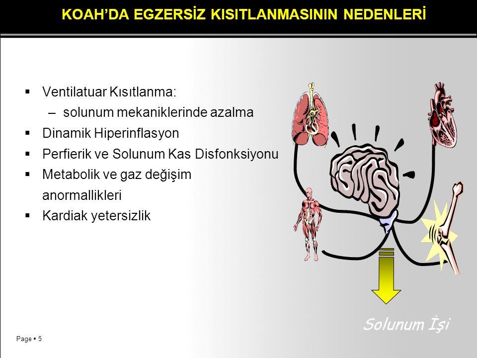 Page  5 KOAH'DA EGZERSİZ KISITLANMASININ NEDENLERİ  Ventilatuar Kısıtlanma: –solunum mekaniklerinde azalma  Dinamik Hiperinflasyon  Perfierik ve S